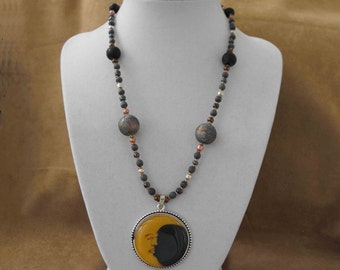 Necklace, Vintage Beads, Upcycled w/Modern Glass Beads, Moon Focal Pendant NT-729