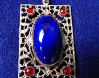 Vintage Deco Pendant,  Silver with Blue Cabochon and Red Rhinestones, ca 1950
