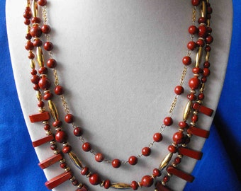 Necklace, Fancy Red Jasper, Gold Plated Beads, Triple Strand, OOAK, Hand Made NT-830