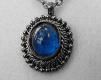 Vintage Necklace, Art Nouveau Style, Blue Cabochon, ca 1970s NT-885