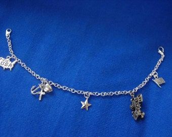 Charm Bracelet, Sterling Silver Charms, Americana, Hand-Made, OOAK NT-898