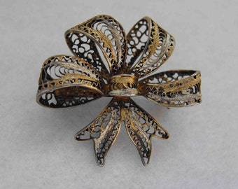 Antique Brooch, Cannetille, Filigree Bow, 800 Silver, Gold Washed, ca 1920-30s NT-919