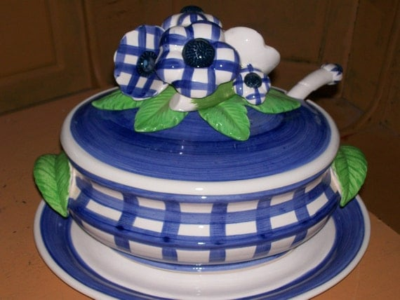 Soup Tureen - Blue and White