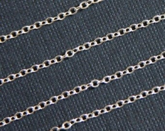 Silver plated brass  cable chain 2mm -10ft