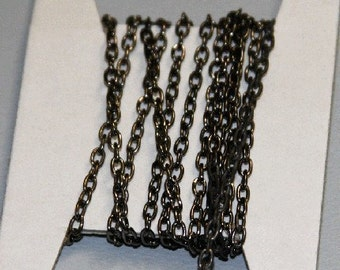 32ft of Gunmetal finished over steel round cable chain 2.5x 3.8mm