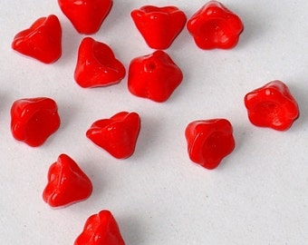 Orange  flower cone glass beads 8x6mm - 80
