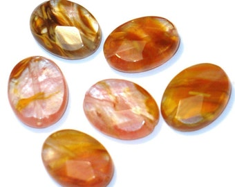 Tiger Quartz/glass Faceted Oval beads - 6