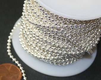 32ft  of silver plated ball chain 2.4mm