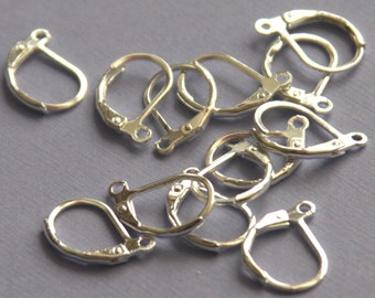 Silver plated leverback earwires ---50 pcs