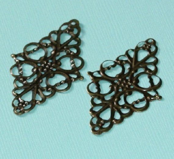 Antiqued brass filigree connector links - 30X50mm -  20