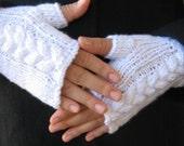 Cashmere snow white wrist warmers