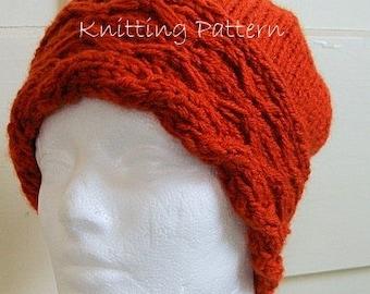 Diamond Cable Brim Handknit Hat PDF Knitting Pattern