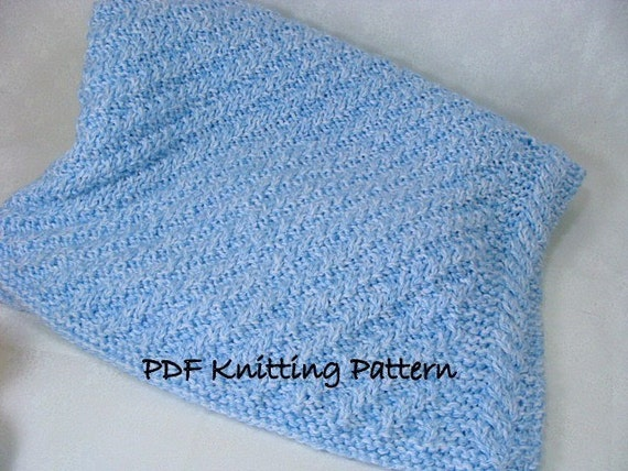 Knitting Pattern For Lap Blanket : PDF Knitting Pattern Diagonal Rib Baby Blanket by ValeriesGallery