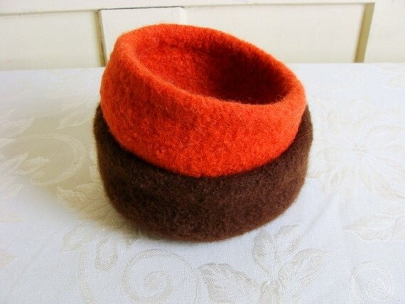 SALE 35% OFF Set of 2 Felted Wool Bowl - Brown and Orange