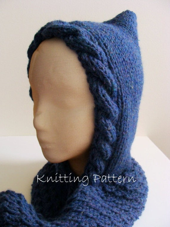Woodland Hooded Scarf PDF Knitting Pattern by ValeriesGallery