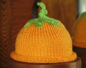 Hats, Knit Baby Hats, Knit Hat, Knit Orange Hat, Orange Hat, Fruit Hat, Orange Fruit Hat, Baby Hat, Newborn Fruit Hat, Newborn Hat, Infant