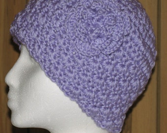 Hand Crocheted Hat  - Teen / Adult  - Lilac with Flower