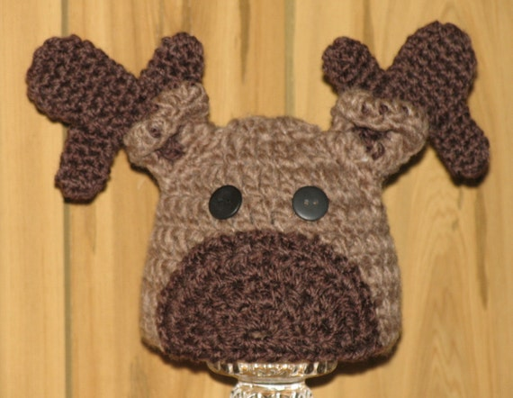 Crochet Pattern Moose Hat : 1 to 3 Year Old / Hand Crocheted Moose Hat by EEECrafter ...