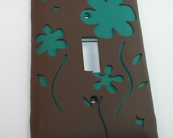 Brown and Teal Flower Light Switchplate Switch Plate Cover Polymer Clay