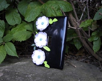 Flower Light Switch Plate Cover Poppy Black and White Polymer Clay