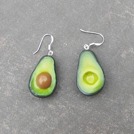 Avocado Earrings Polymer Clay