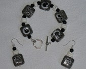 Black and White Squares Bracelet and Earrings