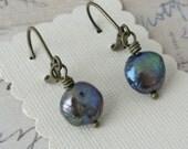 Black Pearl Earrings -  antique brass earrings with rustic button pearls - simple pearl earrings