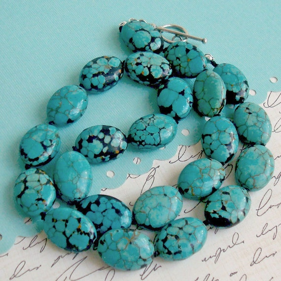 Knotted Stone Necklace - turquoise magnesite necklace with sterling silver toggle