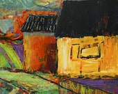 Expressionist Fine Art Print Colorful Houses from original painting 102410