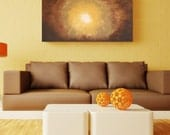 LARGE Original Modern Acrylic Painting 48 x 24 Canvas  - Zen Sunburst in Brown, Cream and Yellow
