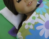 American Girl Doll Sleeping Bag and Pillow Set - Blue and Purple Flowers