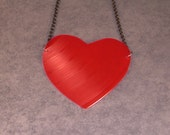 Large Vinyl Record Heart Necklace by cloverstudio