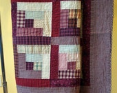 Hand Quilted Twin Quilt  In Antique Red