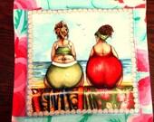 Fruit Ladies Pot Holders/ Hot Mats/ Trivets/set of 2