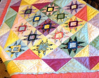 Quilted Table Topper  Wall Hanging Baby Quilt