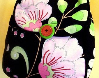 Purse With Pink and Green Flowers