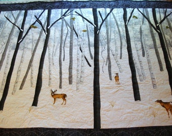 Quilted Wall Hanging The Birches in Winter