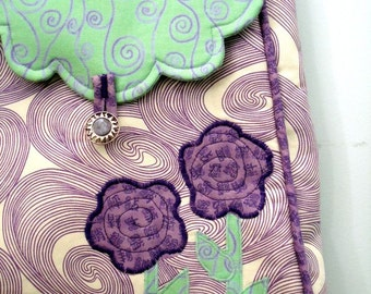 Floral Purse in Purple and Teal