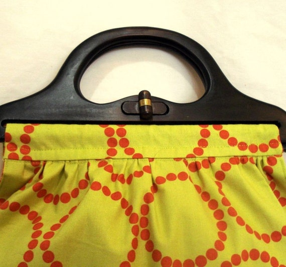 Purse With Wooden Handle in Lime and Orange