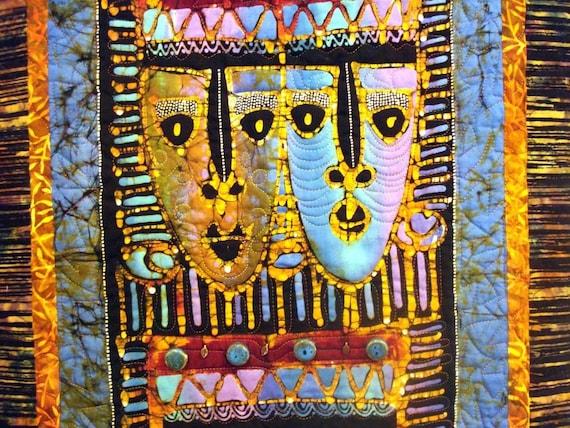 Quilted Wall Hanging Indonesian Masks Batik