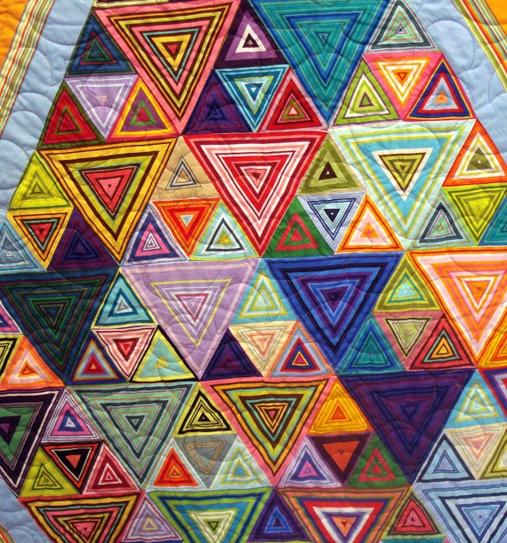 Twin Quilt In Colorful Striped Triangles
