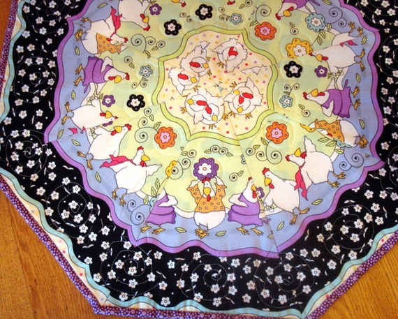 Quilted Table Topper With  Dancing Chickens and Leaves