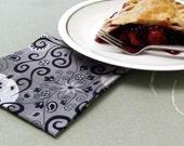 Cloth cocktail appetizer napkins, eco friendly cotton cloth napkins  - coasters - set of 6