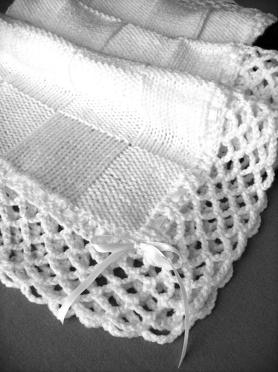 Christening Baptism Baby Blanket, White, Baby Christening - Hand Knit - Ready to Ship!