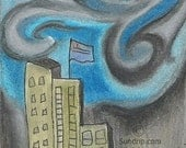 This City 4x6 original oil pastel skyscape painting