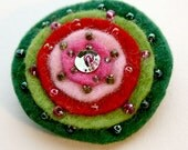 Beaded Felt Brooch in Green, pink and red.