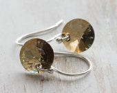 g l i n t - simple bronze crystal earrings with sterling silver earwires