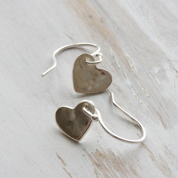 l o v e - tiny sterling silver hammered heart earrings