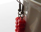 Treasure - Red Coral and Antiqued Brass Earrings