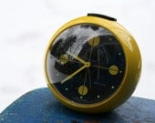 SALE:  Unique Mod Retro Clock Radio - Yellow Sphere